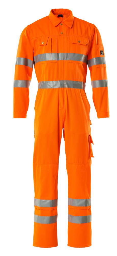 00419-860-14 Overall met kniezakken - hi-vis oranje
