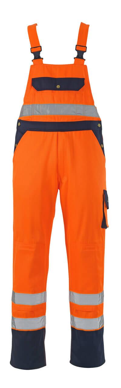 00969-860-141 Amerikaanse overall met kniezakken - hi-vis oranje/marine