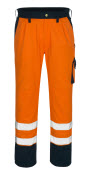 00979-860-141 Broek met kniezakken - hi-vis oranje/marine