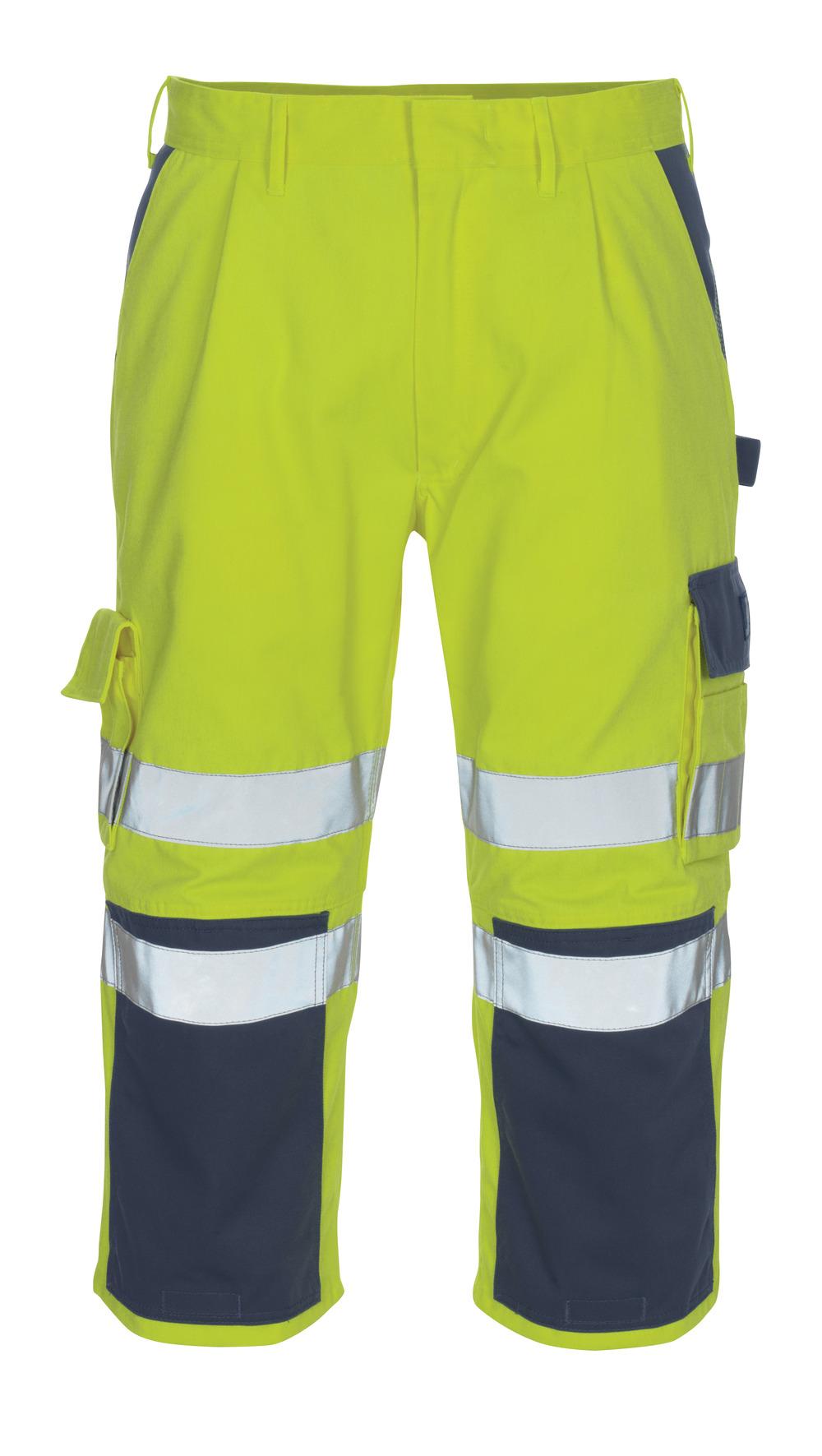 07149-470-171 Driekwart broek met kniezakken - hi-vis geel/marine