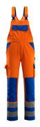 07169-860-1411 Amerikaanse overall met kniezakken - hi-vis oranje/korenblauw