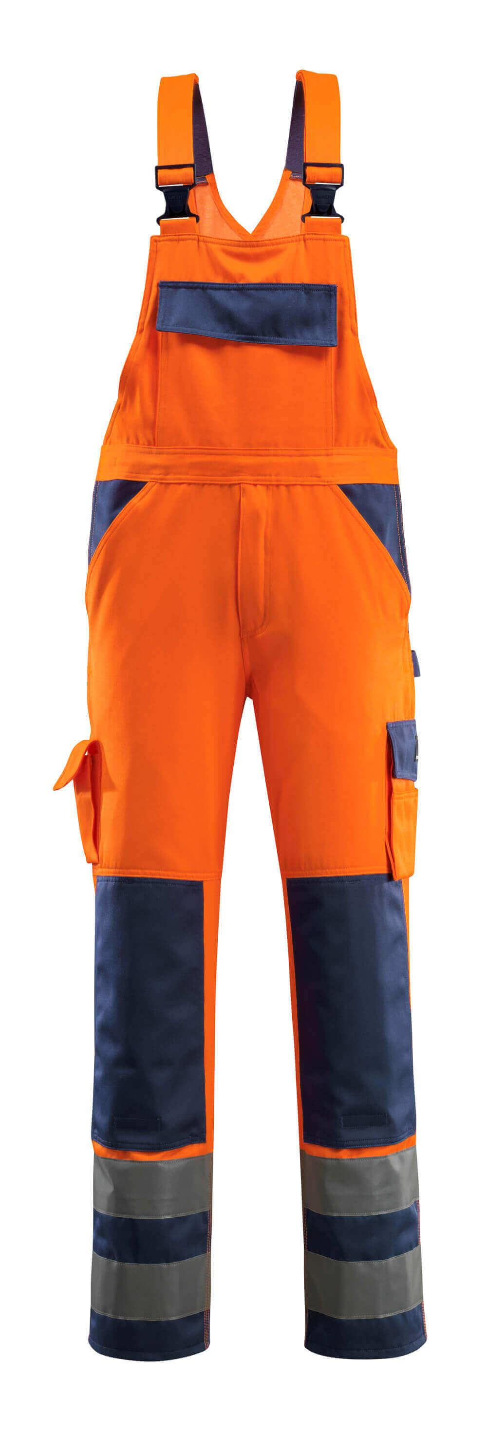 07169-860-141 Amerikaanse overall met kniezakken - hi-vis oranje/marine