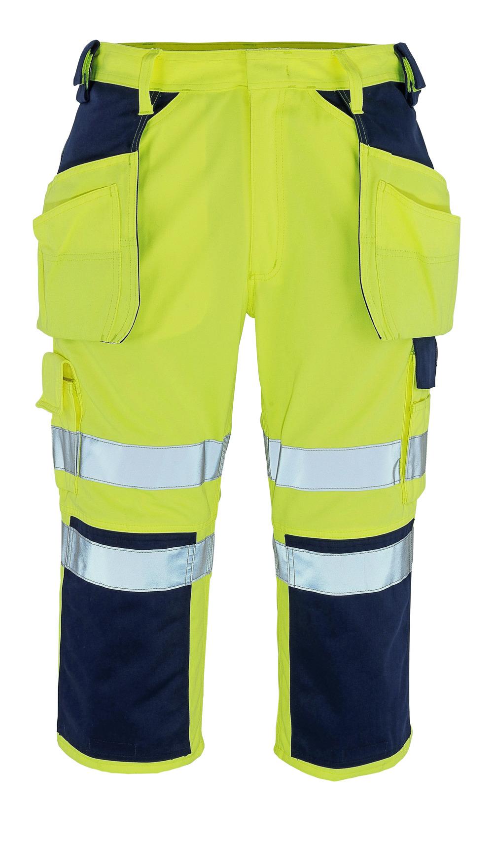 09149-470-171 Driekwart broek met knie- en spijkerzakken - hi-vis geel/marine