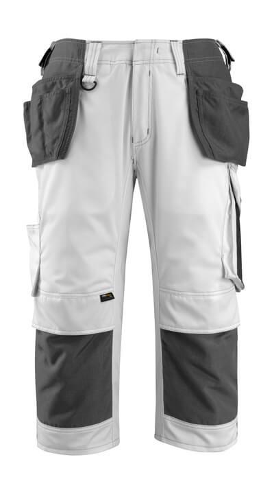 14349-442-0618 Driekwart broek met knie- en spijkerzakken - wit/donkerantraciet