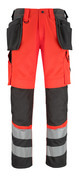 14931-860-A49 Broek met knie- en spijkerzakken - hi-vis rood/donkerantraciet