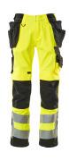 15531-860-1709 Broek met knie- en spijkerzakken - hi-vis geel/zwart