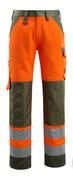 15979-948-1433 Broek met kniezakken - hi-vis oranje/mosgroen