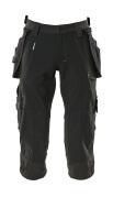 17049-311-09 Driekwart broek met knie- en spijkerzakken - zwart