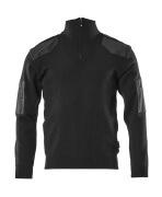 17205-939-09 Gebreide trui met korte rits - zwart