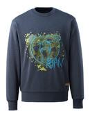 17284-280-66 Sweatshirt - gewassen donkerblauw denim