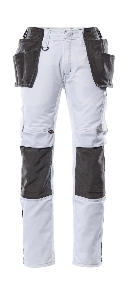 17631-442-0618 Broek met knie- en spijkerzakken - wit/donkerantraciet