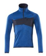 18003-316-91010 Fleecetrui met korte rits - helder blauw/donkermarine