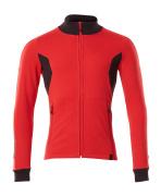 18484-962-20209 Sweatshirt met rits - signaalrood/zwart