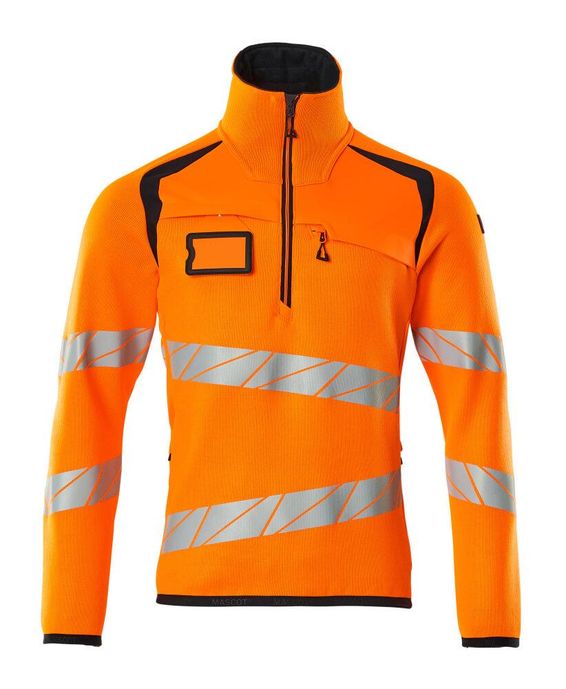 19005-351-14010 Gebreide trui met korte rits - hi-vis oranje/donkermarine