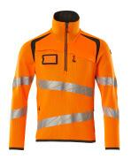 19005-351-1418 Gebreide trui met korte rits - hi-vis oranje/donkerantraciet