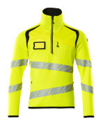 19005-351-1709 Gebreide trui met korte rits - hi-vis geel/zwart