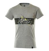 19182-965-0814 T-shirt - grijs gemeleerd/hi-vis oranje