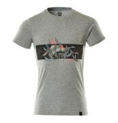 19182-965-08222 T-shirt - grijs gemeleerd/hi-vis rood