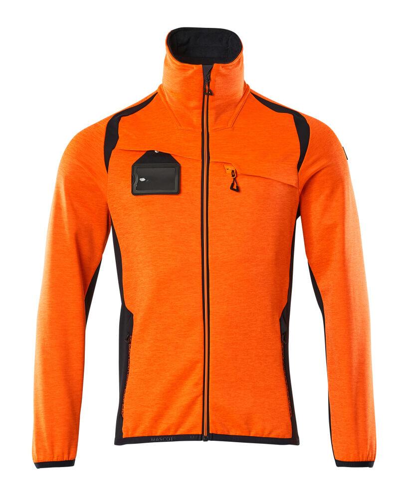 19403-316-14010 Fleecetrui met rits - hi-vis oranje/donkermarine