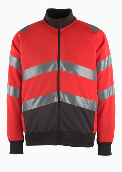 50116-950-A49 Sweatshirt met rits - hi-vis rood/donkerantraciet