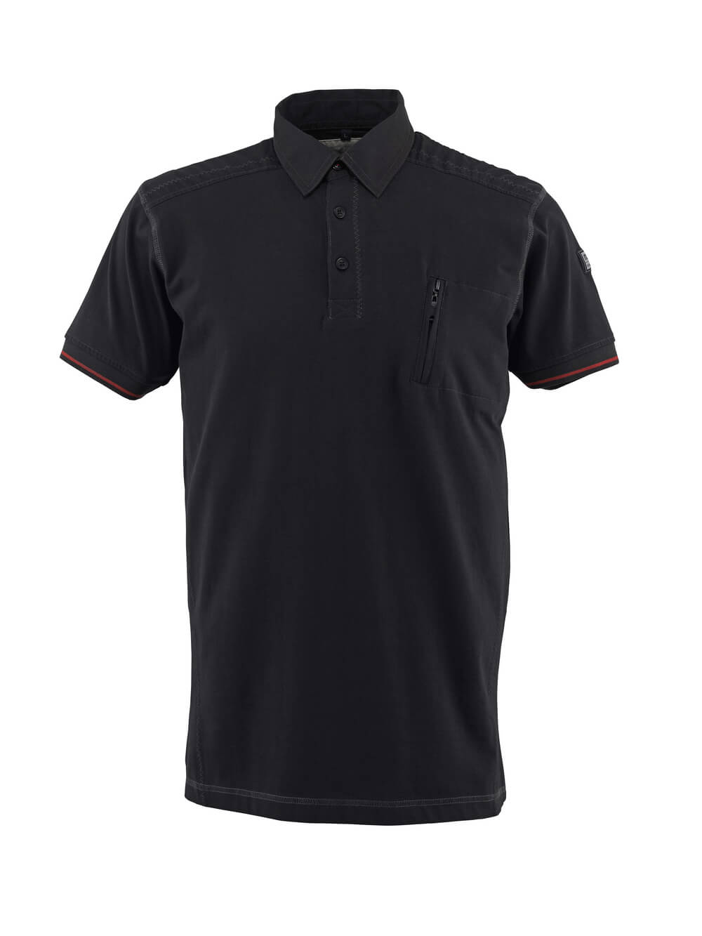 50351-833-09 Poloshirt met borstzak - zwart