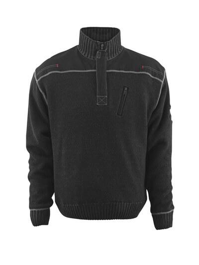 50354-835-09 Gebreide trui met korte rits - zwart