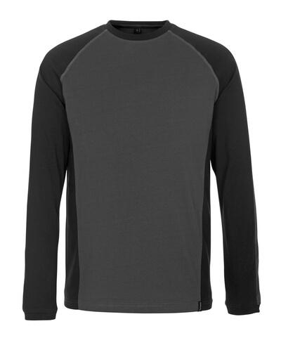 50504-250-1809 T-shirt, met lange mouwen - donkerantraciet/zwart
