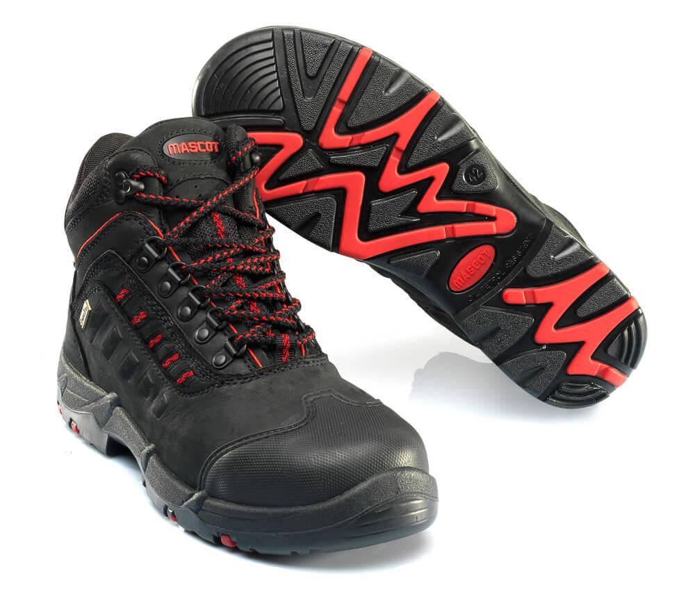 F0025-901-0902 Veiligheidsschoenen (hoog) - zwart/rood